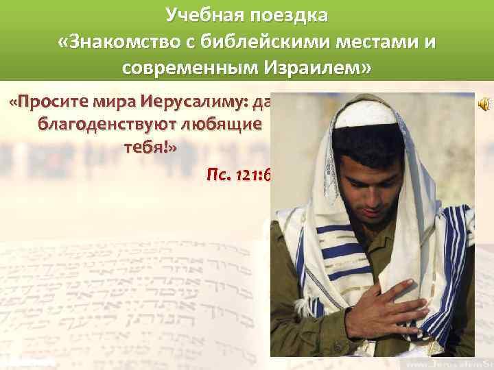 Учебная поездка «Знакомство с библейскими местами и современным Израилем» «Просите мира Иерусалиму: да благоденствуют