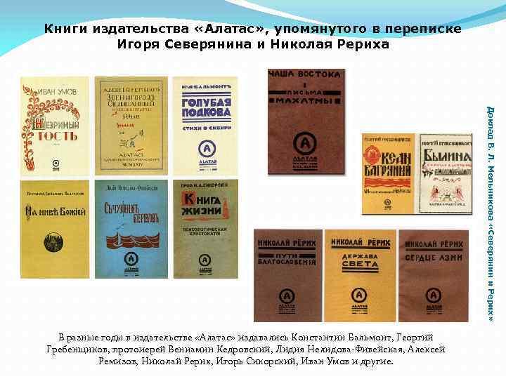Книги издательства «Алатас» , упомянутого в переписке Игоря Северянина и Николая Рериха Доклад В.