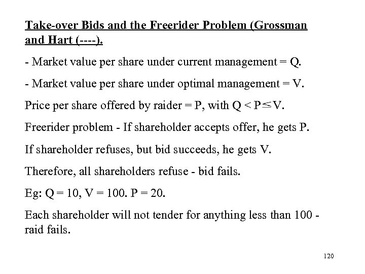 Take-over Bids and the Freerider Problem (Grossman and Hart (----). - Market value per