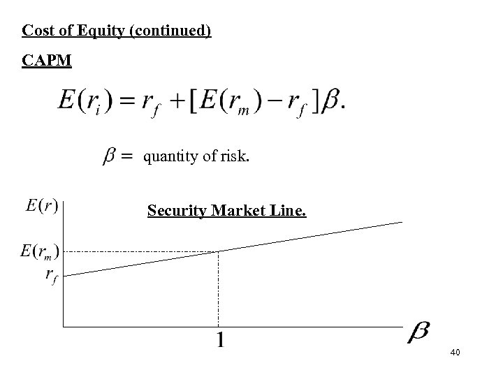 Cost of Equity (continued) CAPM quantity of risk. Security Market Line. 40