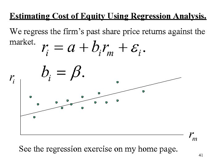 Estimating Cost of Equity Using Regression Analysis. We regress the firm's past share price