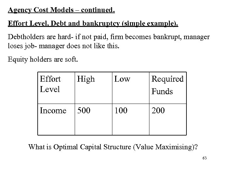 Agency Cost Models – continued. Effort Level, Debt and bankruptcy (simple example). Debtholders are