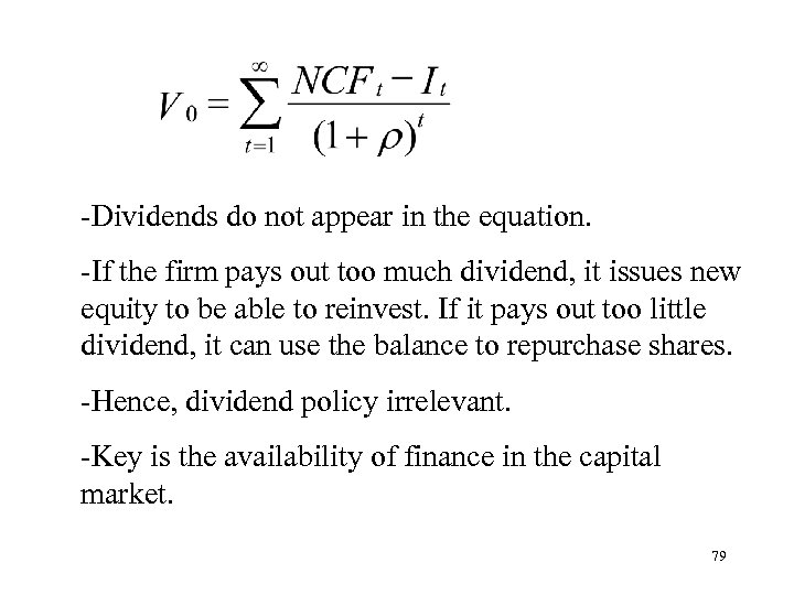 -Dividends do not appear in the equation. -If the firm pays out too much