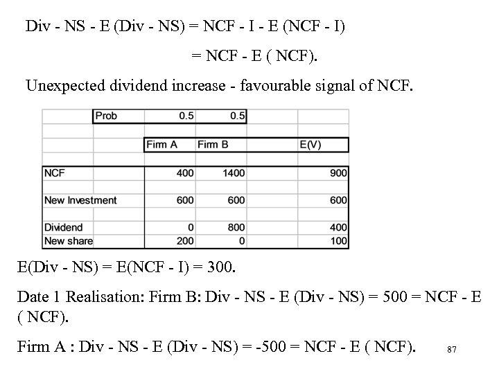 Div - NS - E (Div - NS) = NCF - I - E