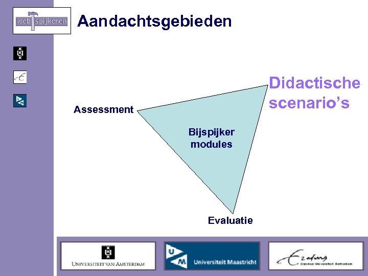 Aandachtsgebieden Didactische scenario's Assessment Bijspijker modules Evaluatie
