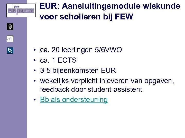 EUR: Aansluitingsmodule wiskunde voor scholieren bij FEW • • ca. 20 leerlingen 5/6 VWO