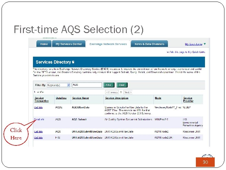 First-time AQS Selection (2) Click Here 30