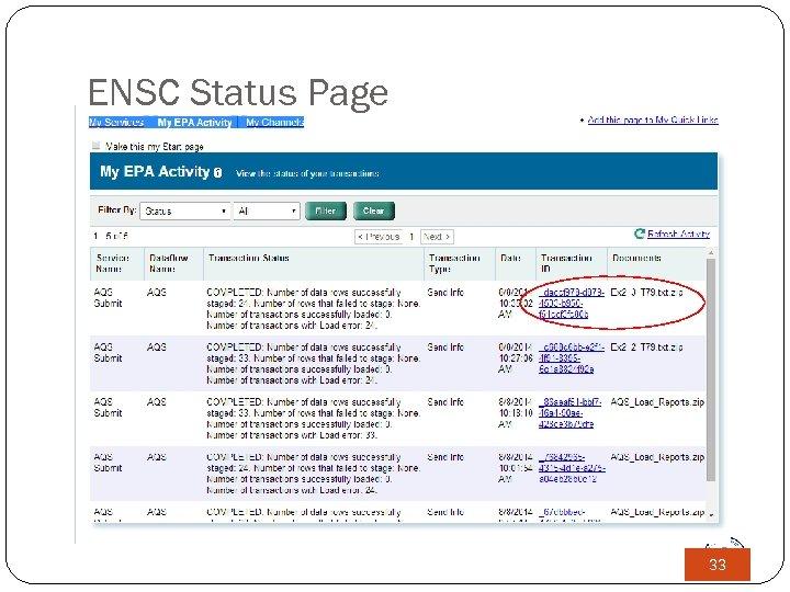 ENSC Status Page 33