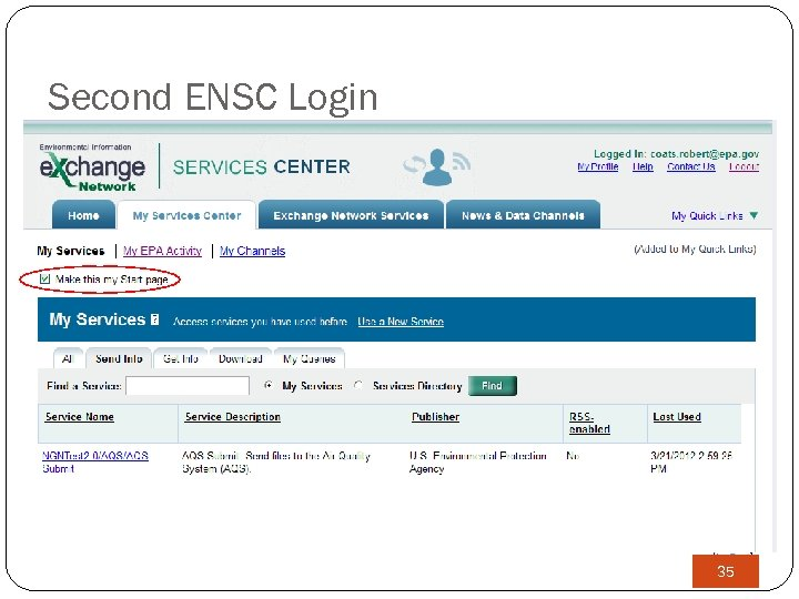 Second ENSC Login 35