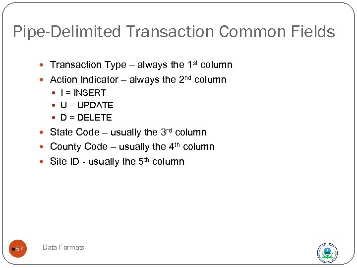 Pipe-Delimited Transaction Common Fields Transaction Type – always the 1 st column Action Indicator