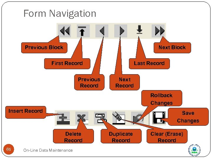 Form Navigation Previous Block Next Block First Record Previous Record Last Record Next Record