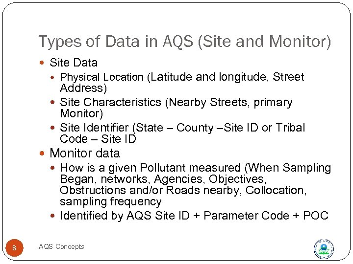 Types of Data in AQS (Site and Monitor) Site Data Physical Location (Latitude and