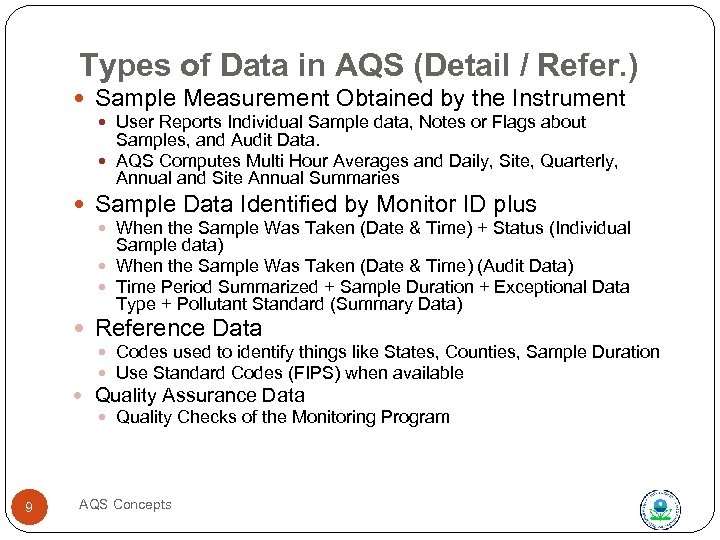 Types of Data in AQS (Detail / Refer. ) Sample Measurement Obtained by the
