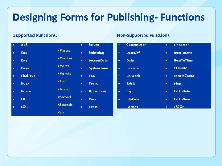 Designing Forms for Publishing- Functions Supported Functions: ABS Cos Days Find. Text Hours LN