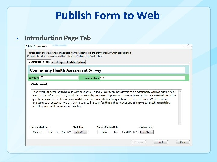 Publish Form to Web § Introduction Page Tab