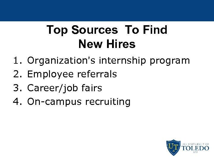 Top Sources To Find New Hires 1. 2. 3. 4. Organization's internship program Employee