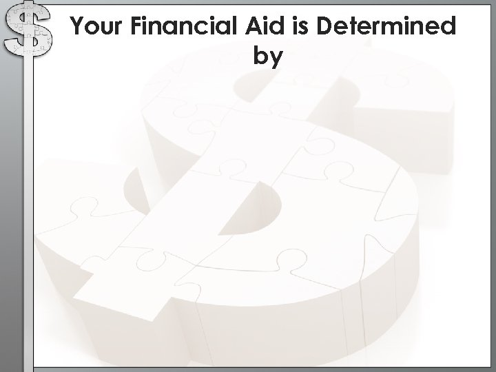 Your Financial Aid is Determined by