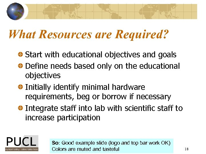 What Resources are Required? Start with educational objectives and goals Define needs based only