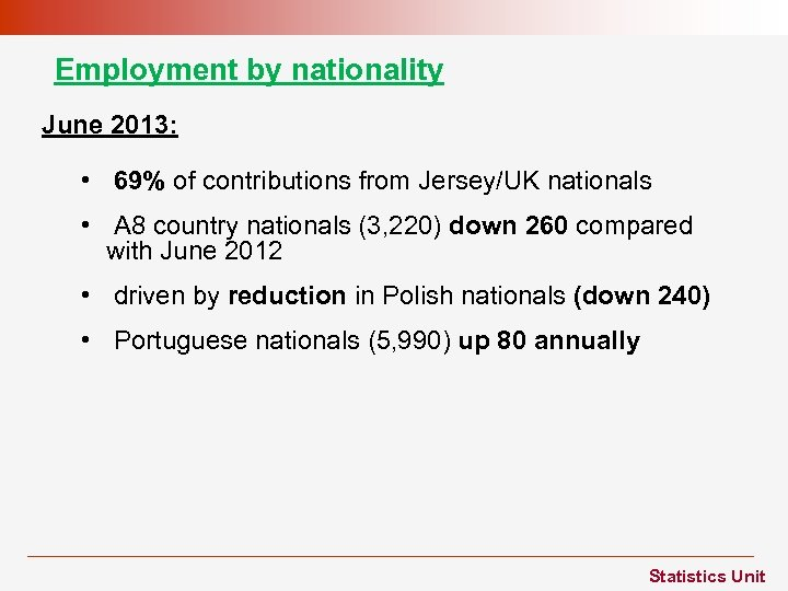 Employment by nationality June 2013: • 69% of contributions from Jersey/UK nationals • A