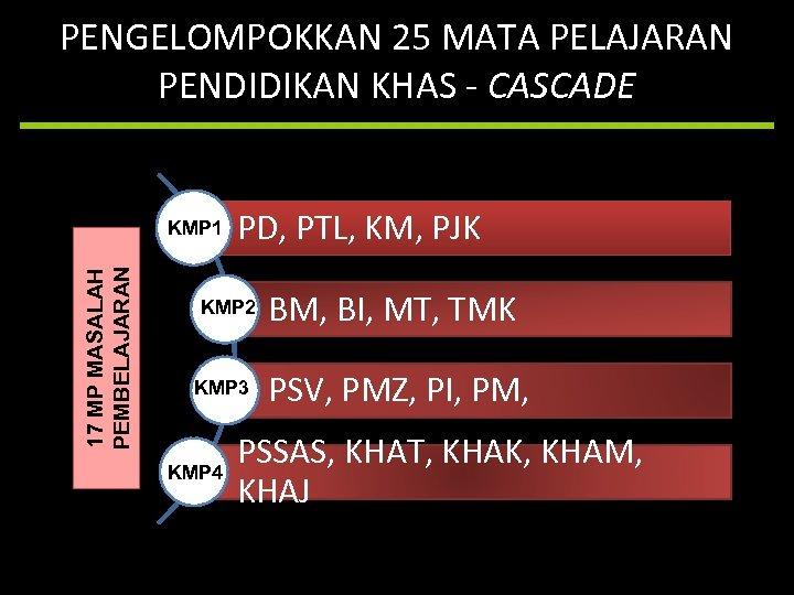 PENGELOMPOKKAN 25 MATA PELAJARAN PENDIDIKAN KHAS - CASCADE 17 MP MASALAH PEMBELAJARAN KMP 1