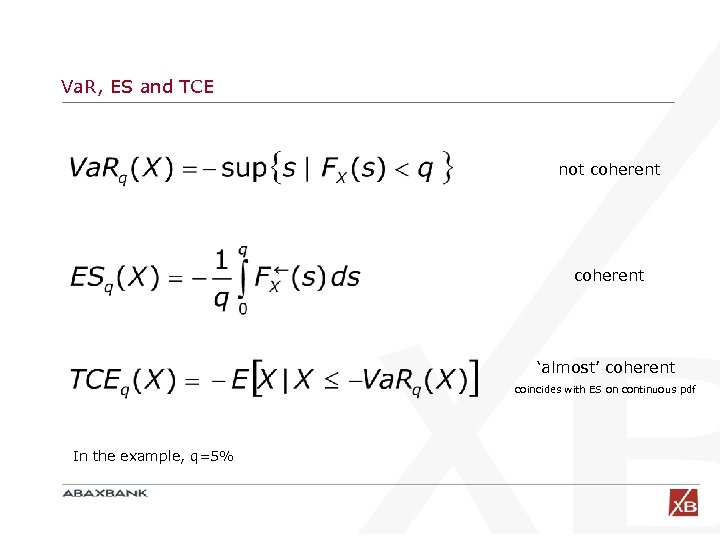Va. R, ES and TCE not coherent 'almost' coherent coincides with ES on continuous
