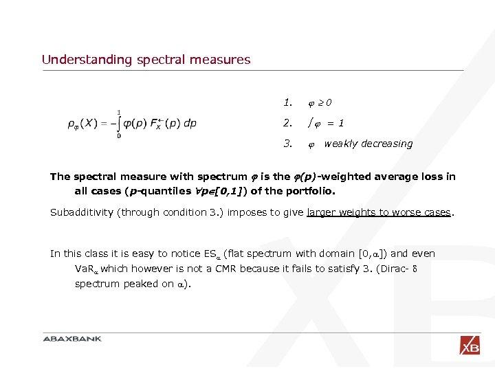 Understanding spectral measures 1. 0 2. =1 3. weakly decreasing The spectral measure with