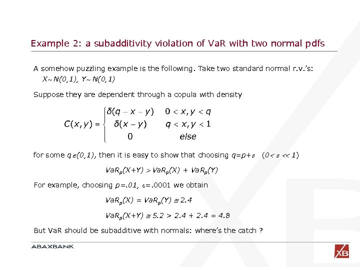 Example 2: a subadditivity violation of Va. R with two normal pdfs A somehow