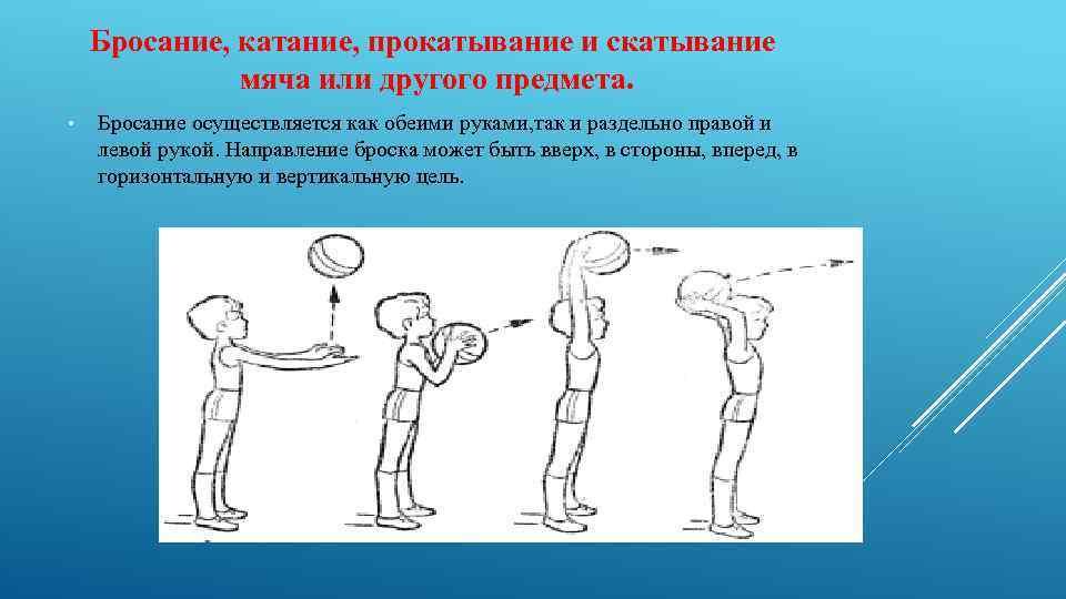 Бросание, катание, прокатывание и скатывание мяча или другого предмета. • Бросание осуществляется как обеими