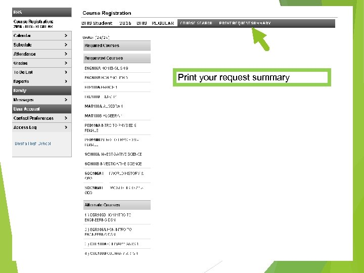 Print your request summary
