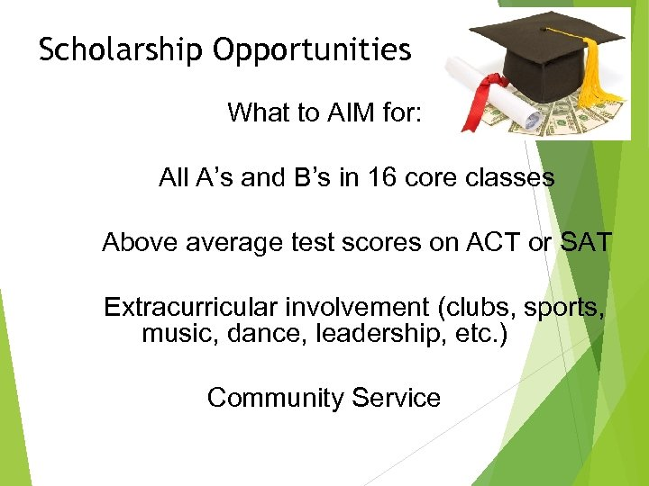 Scholarship Opportunities What to AIM for: All A's and B's in 16 core classes