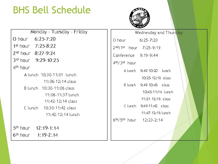BHS Bell Schedule Monday – Tuesday - Friday O hour 6: 25 -7: 20