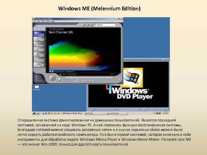 Windows ME (Melennium Edition) Операционная система ориентированная на домашних пользователей. Является последней системой, основанной
