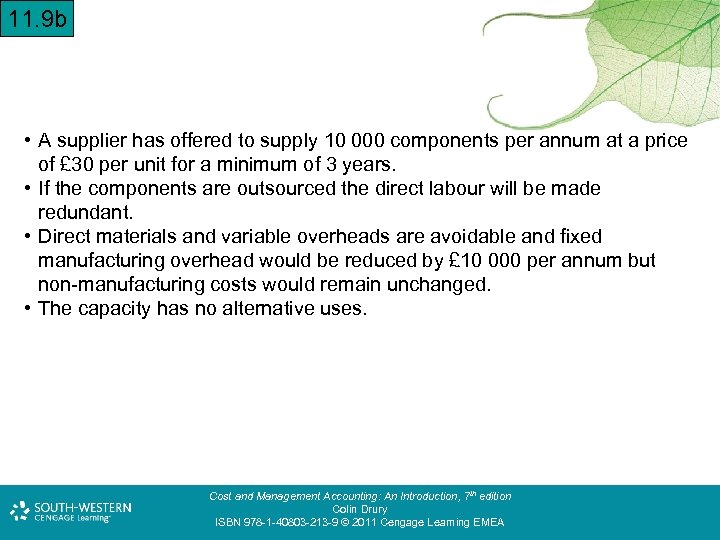 11. 9 b • A supplier has offered to supply 10 000 components per