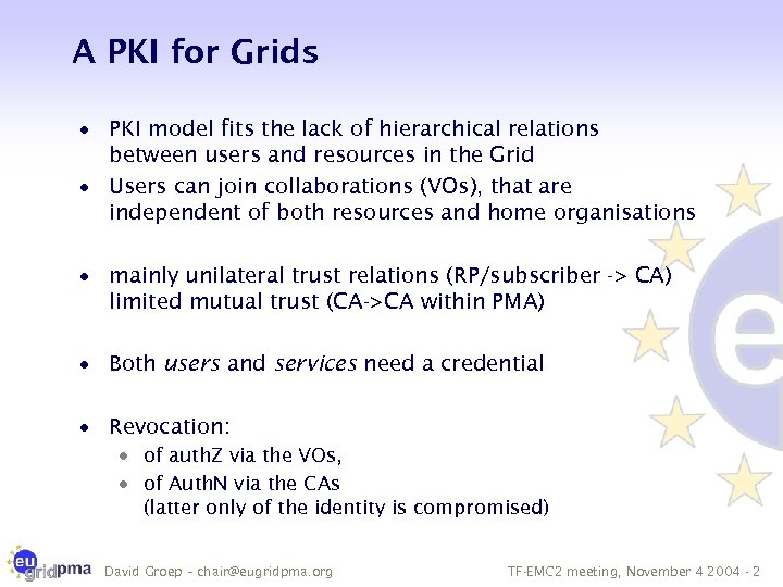 A PKI for Grids · PKI model fits the lack of hierarchical relations between