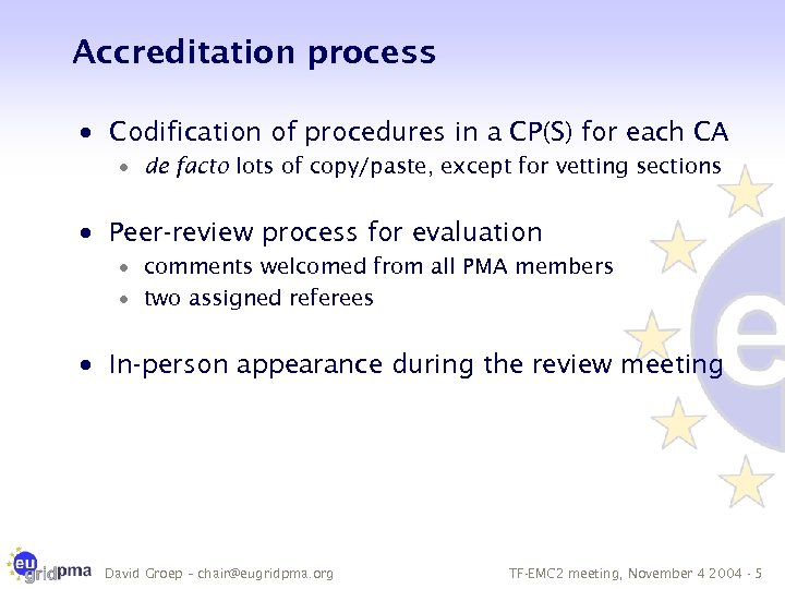 Accreditation process · Codification of procedures in a CP(S) for each CA · de