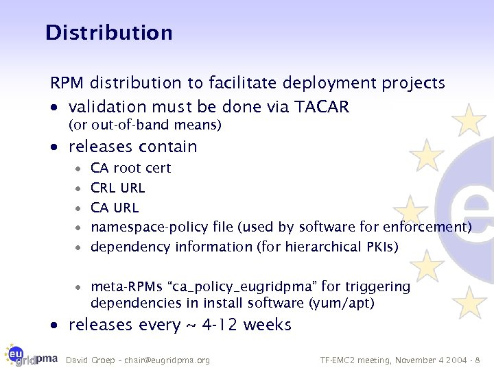Distribution RPM distribution to facilitate deployment projects · validation must be done via TACAR
