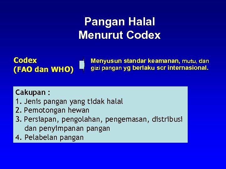 Pangan Halal Menurut Codex (FAO dan WHO) Menyusun standar keamanan, mutu, dan gizi pangan