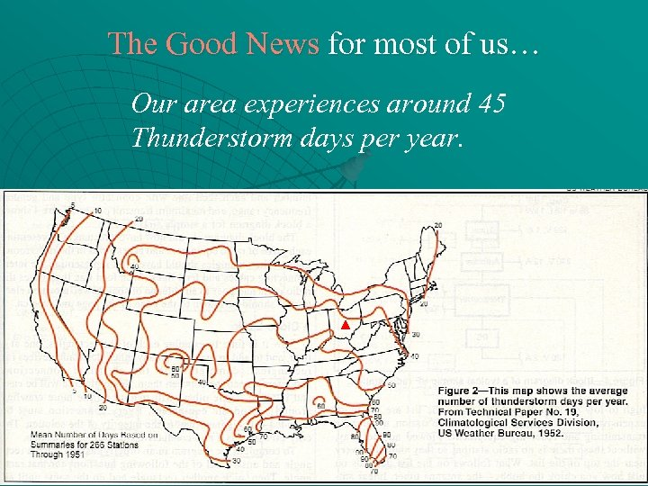 The Good News for most of us… Our area experiences around 45 Thunderstorm days
