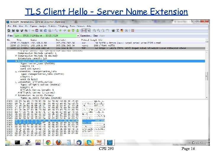 TLS Client Hello – Server Name Extension CPS 290 Page 16