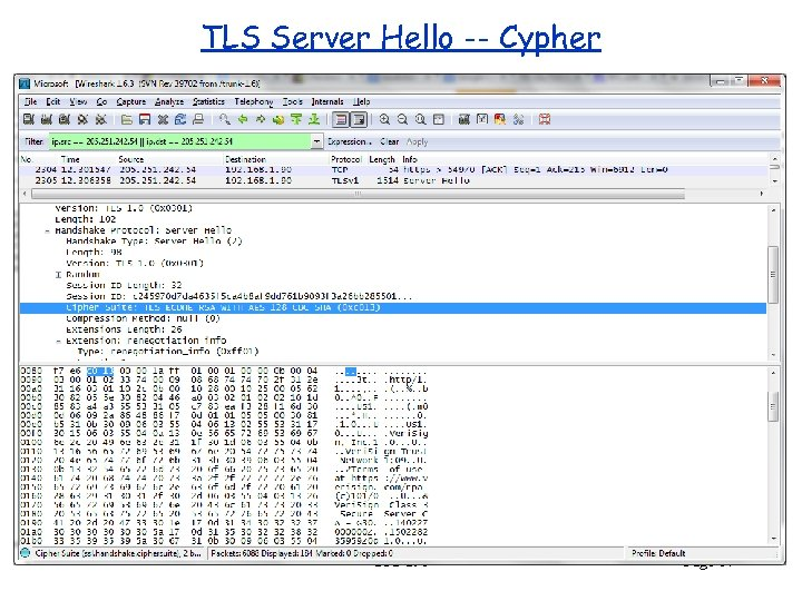 TLS Server Hello -- Cypher CPS 290 Page 17