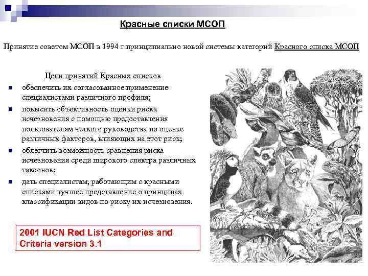 Красные списки МСОП Принятие советом МСОП в 1994 г принципиально новой системы категорий Красного