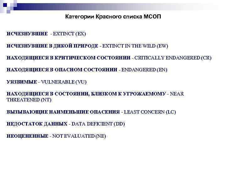 Категории Красного списка МСОП ИСЧЕЗНУВШИЕ - EXTINCT (EX) ИСЧЕЗНУВШИЕ В ДИКОЙ ПРИРОДЕ - EXTINCT