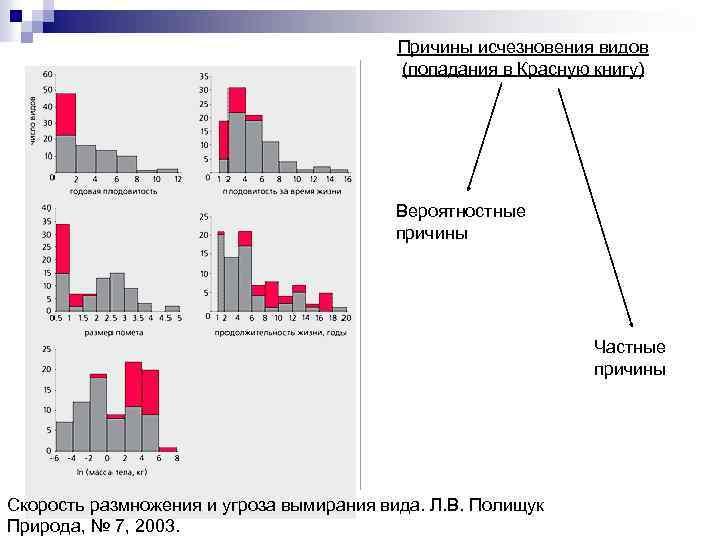 Причины исчезновения видов (попадания в Красную книгу) Вероятностные причины Частные причины Скорость размножения и