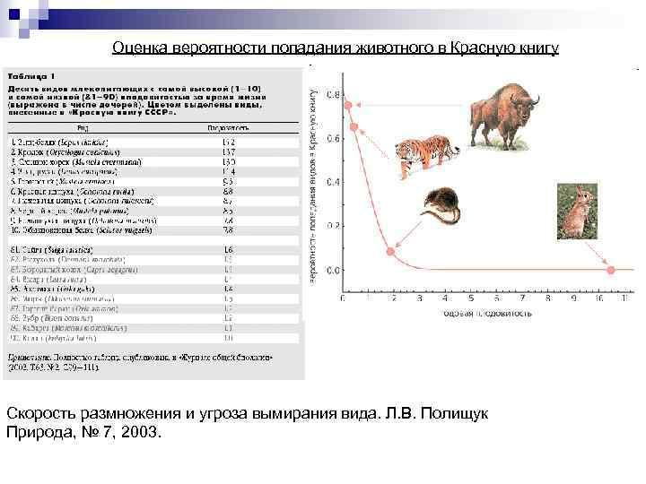 Оценка вероятности попадания животного в Красную книгу Скорость размножения и угроза вымирания вида. Л.