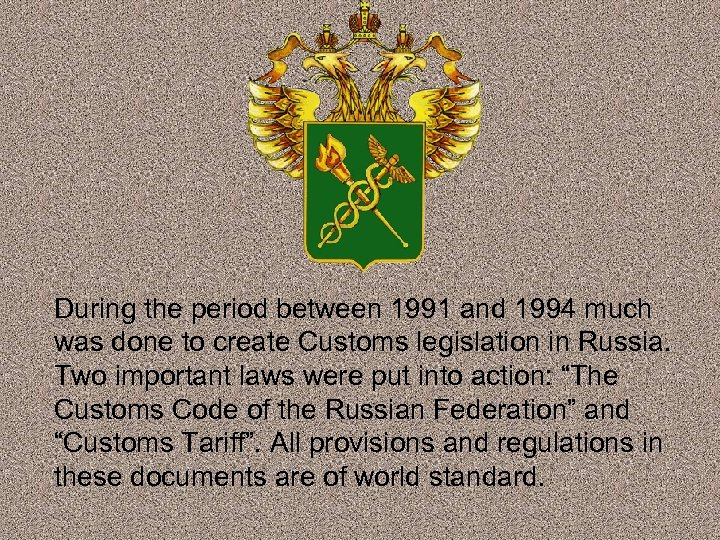 During the period between 1991 and 1994 much was done to create Customs legislation