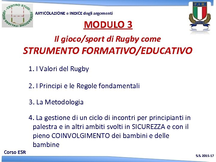 ARTICOLAZIONE e INDICE degli argomenti MODULO 3 Il gioco/sport di Rugby come STRUMENTO FORMATIVO/EDUCATIVO