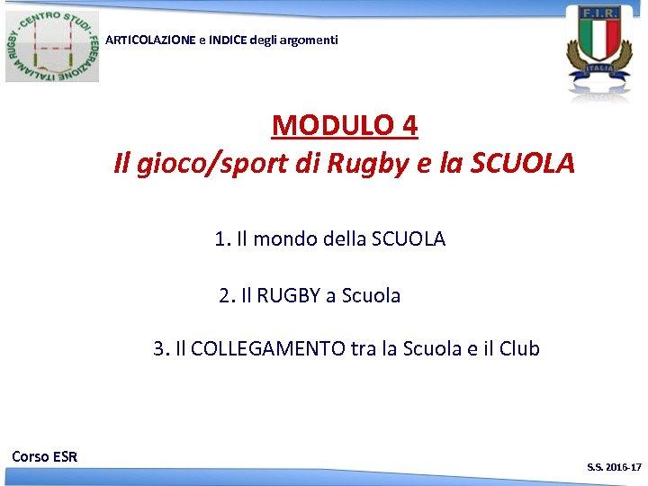 ARTICOLAZIONE e INDICE degli argomenti MODULO 4 Il gioco/sport di Rugby e la SCUOLA