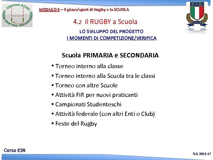 MODULO 4 – Il gioco/sport di Rugby e la SCUOLA 4. 2 Il RUGBY