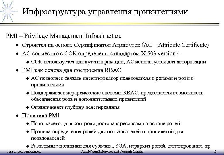 Инфраструктура управления привилегиями PMI – Privilege Management Infrastructure · Строится на основе Сертификатов Атрибутов