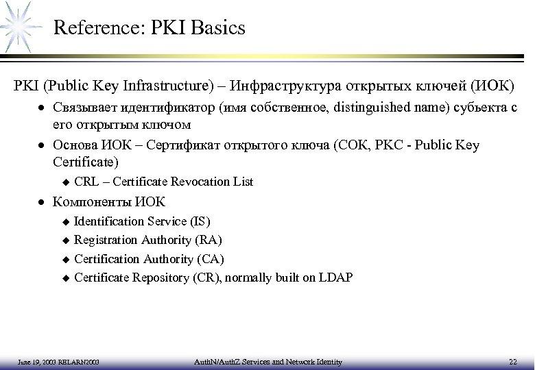 Reference: PKI Basics PKI (Public Key Infrastructure) – Инфраструктура открытых ключей (ИОК) · Связывает